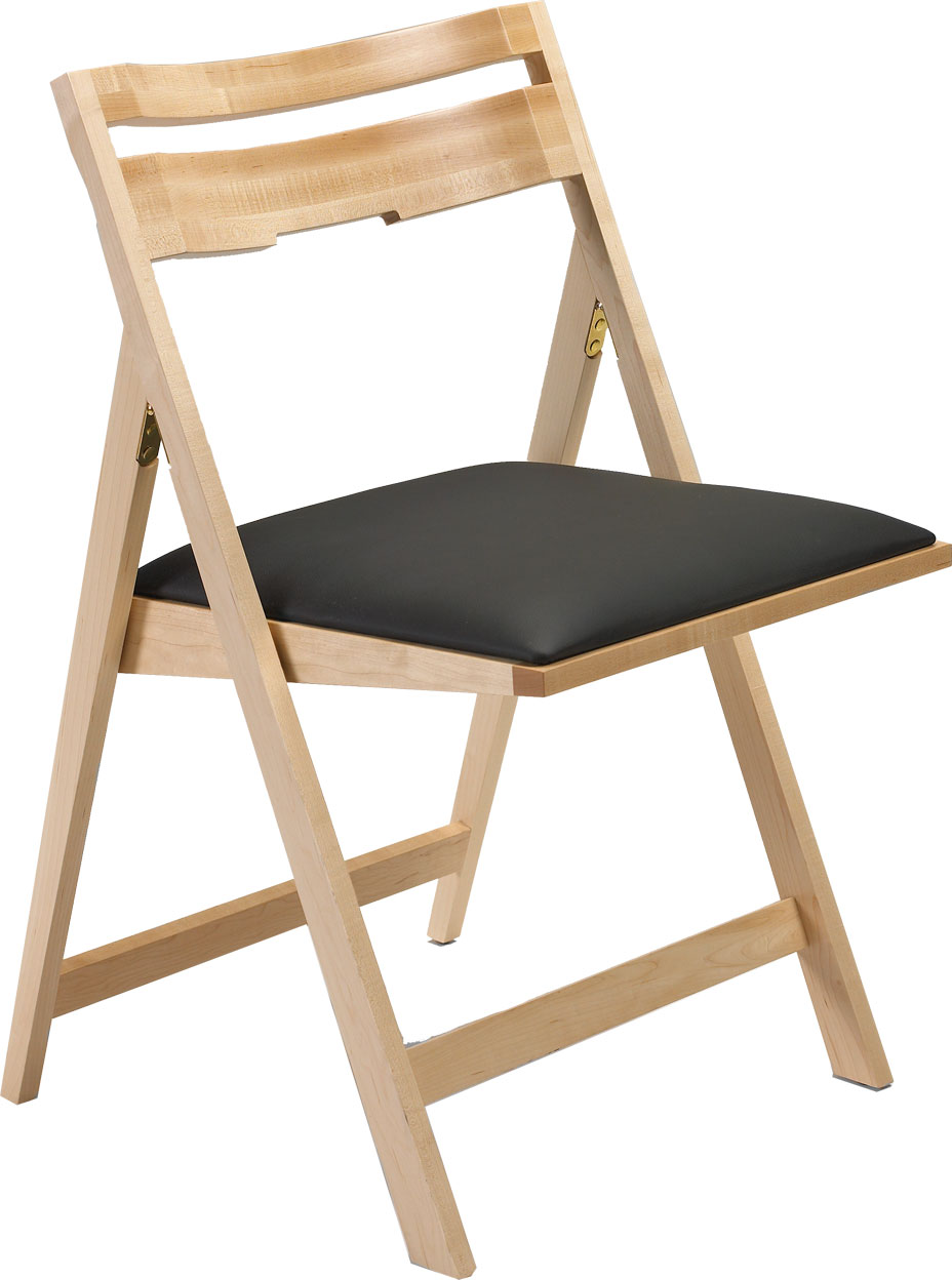 SCOOP UP Wood Folding Chair with Upholstered Seat Peter Pepper Products